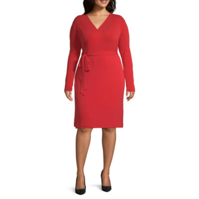 Bold Elements Long Sleeve Wrap Dress-Plus