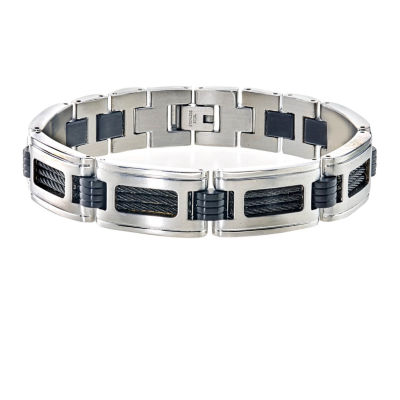 Silver Tone Stainless Steel 8 1/2 Inch Solid Link Bracelet