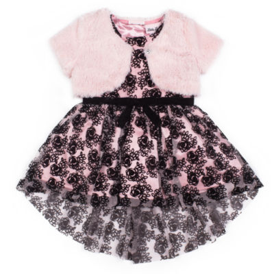 Little Lass Belted Sleeveless Party Dress - Toddler Girls