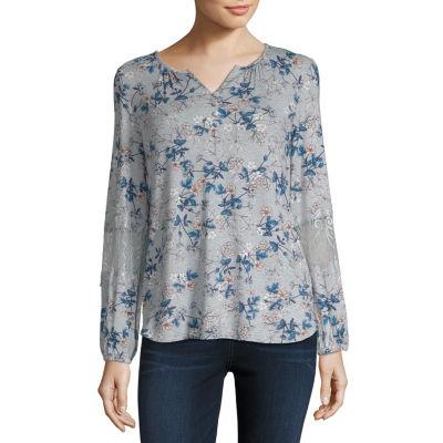 Liz Claiborne Long Sleeve Split Crew Neck Floral T-Shirt-Womens