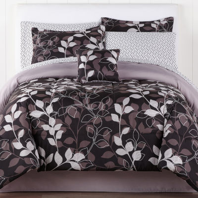 Home Expressions Graphic Leaf Trees + Leaves Reversible Complete Bedding Set with Sheets