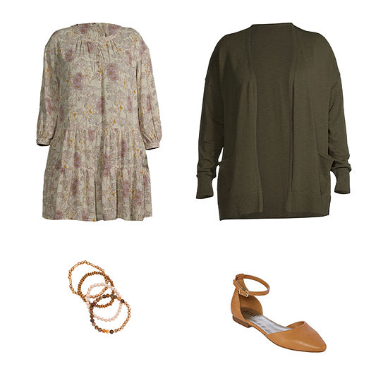 Ripe Avocado: a.n.a Ruffle Dress, Cardigan & Ballet Flats