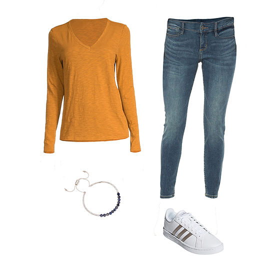Fall Tones: a.n.a Cardigan, Tee & Skinny Jeans