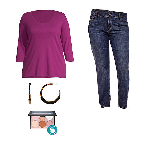 Fun In Fuchsia: St. John's Bay V-neck Tee & Jeans