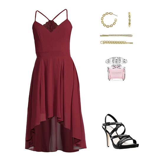 Dark Cherry Kiss: Bee Smart Chiffon Dress & I. Miller Pumps