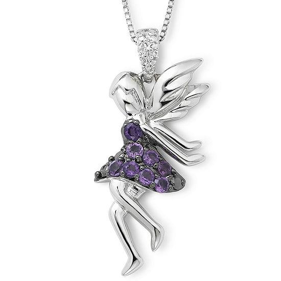 Sterling Silver Amethyst & Diamond-Accent Fairy Pendant v