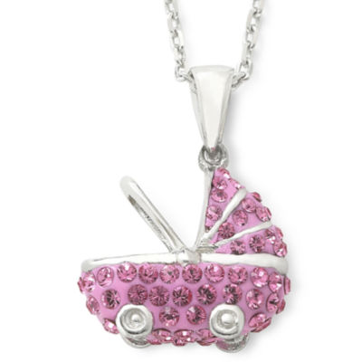 Sterling Silver Pink Crystal Baby Carriage Pendant Necklace