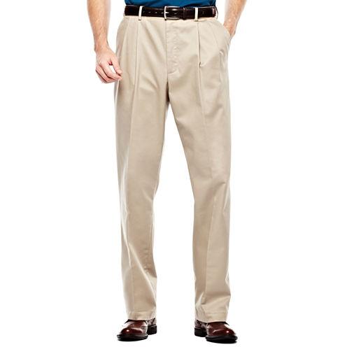 IZOD® Wrinkle–Resistant Pleated Twill Pants–Big & Tall