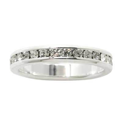 city x city® Crystal Pure Silver-Plated Eternity Band Ring