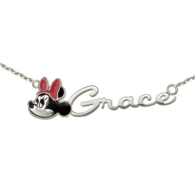 Disney Personalized Girls Minnie Mouse Sterling Silver & Enamel Name Necklace
