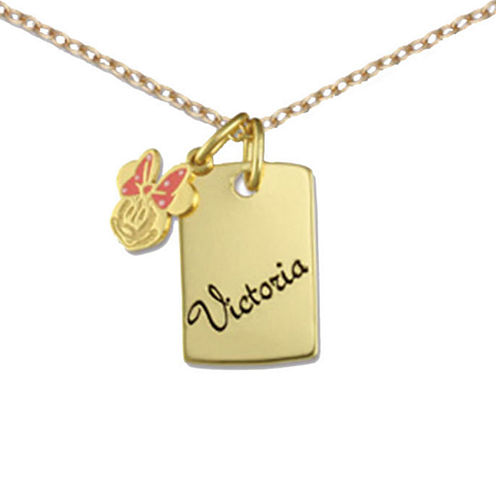 Disney Personalized Girls Minnie Mouse Charm Dog Tag Necklace