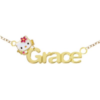 Hello Kitty® Personalized Girls 10K Gold Over Sterling Silver Name Necklace