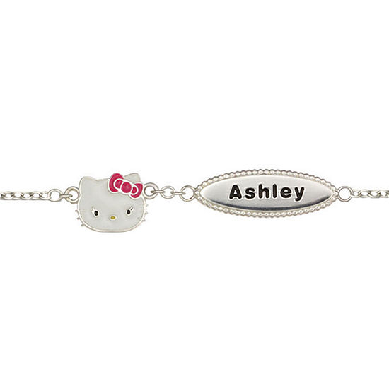 Hello Kitty® Personalized Girls Sterling Silver and Enamel Name Bracelet