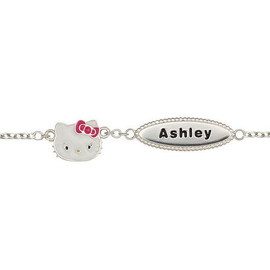 81fca81ce Girls Sterling Silver & Enamel Hello Kitty Personalized Name Bracelet