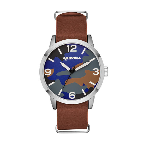 Arizona Mens Brown Strap Watch-Fmdarz530