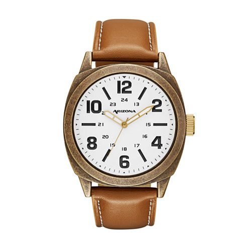 Arizona Mens Brown Strap Watch-Fmdarz534