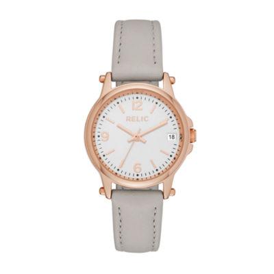 Relic Womens Gray Strap Watch-Zr34383