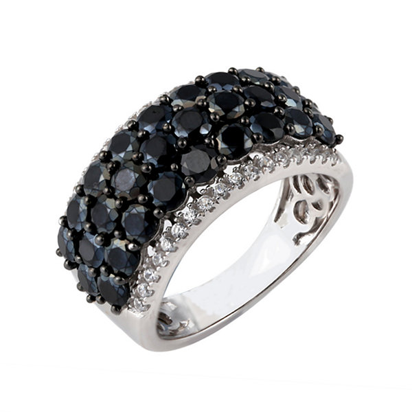 Womens Genuine Black Spinel Sterling Silver Side Stone Ring