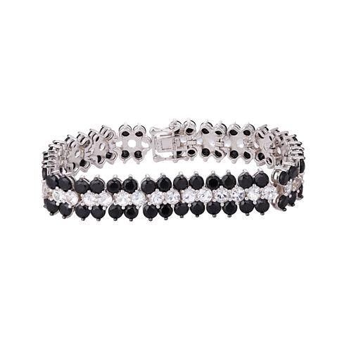 Womens 7.25 Inch Black Spinel Sterling Silver Link Bracelet