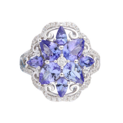Womens Purple Tanzanite Sterling Silver Cluster Ring