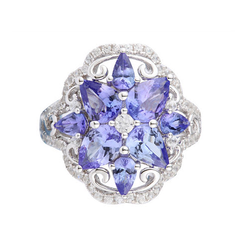 Womens Genuine Purple Tanzanite Sterling Silver Cluster Ring