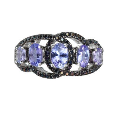 Womens Purple Tanzanite Sterling Silver Side Stone Ring