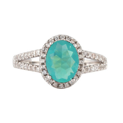 Womens Blue Opal Sterling Silver Halo Cocktail Ring