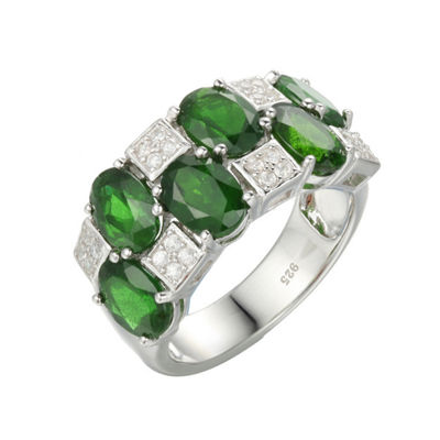 Womens 7 Mm Genuine Green Chrome Diopside Sterling Silver Side Stone Ring
