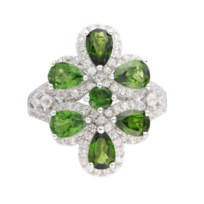 Womens Genuine Green Chrome Diopside Sterling Silver Cluster Cocktail Ring