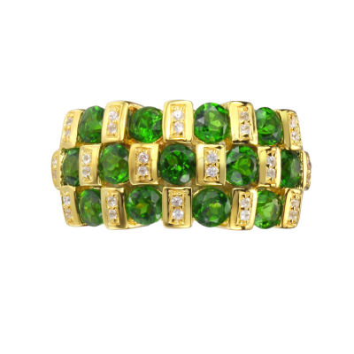 Womens Green Chrome Diopside Gold Over Silver Side Stone Ring