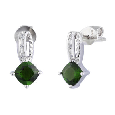 Genuine Green Chrome Diopside Sterling Silver Drop Earrings