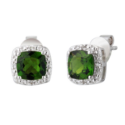 Genuine Green Chrome Diopside Sterling Silver 8mm Stud Earrings