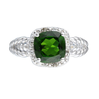 Womens Genuine Green Chrome Diopside Sterling Silver Halo Cocktail Ring