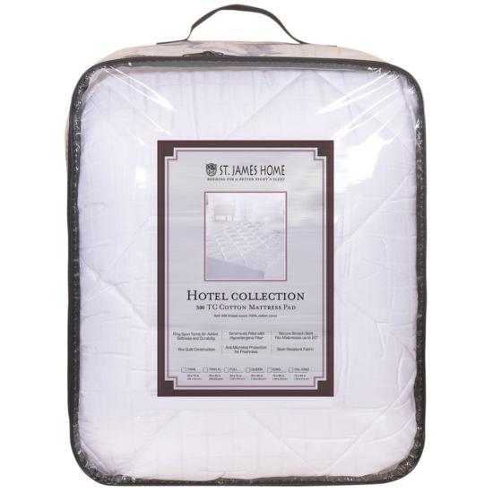 St. James Home 300TC 100% Cotton Sateen Stain Resistant Mattress Pad