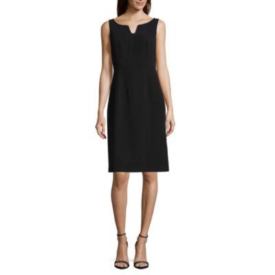 Worthington Sleeveless Notch-Neck Suiting Sheath Dress - Petite