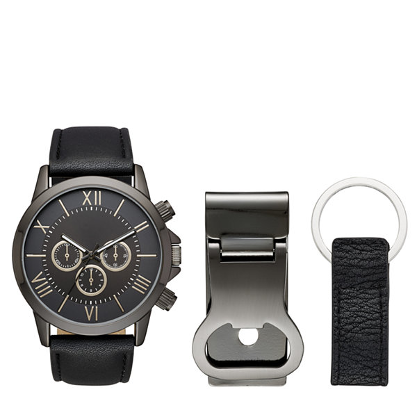 Mens Black 3-pc. Watch Boxed Set-Fmdjset520