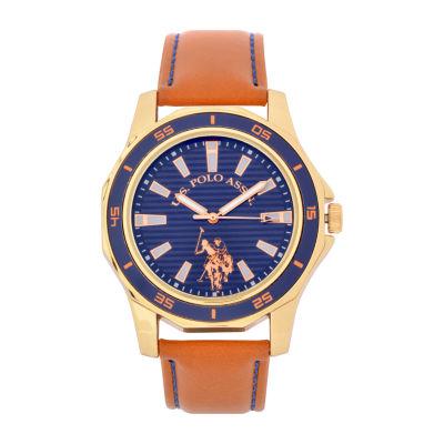 U.S. Polo Assn. Blue Dial Mens Brown Strap Watch-Usc50490jc