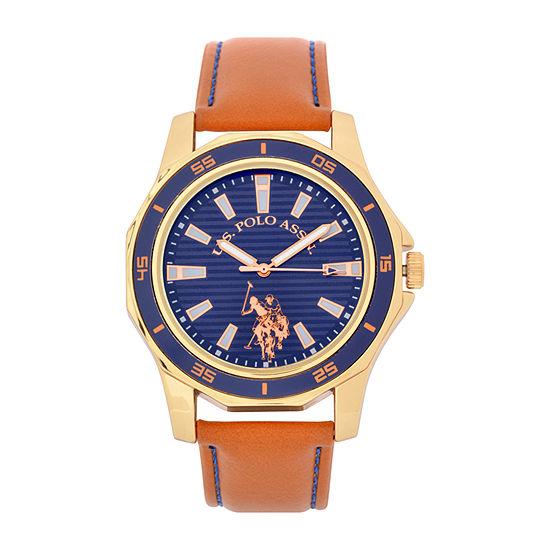 U.S. Polo Assn. Blue Dial Mens Digital Brown Strap Watch-Usc50490jc