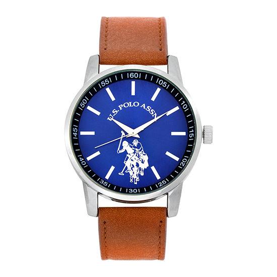 U.S. Polo Assn. Blue Dial Mens Digital Brown Strap Watch-Usc50491jc