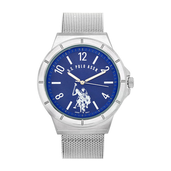 U.S. Polo Assn. Mesh Band Blue Dial Mens Silver Tone Bracelet Watch-Usc80534jc