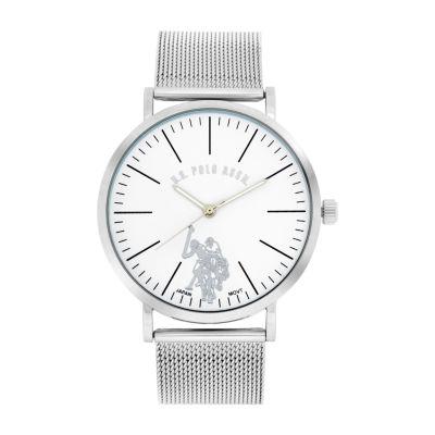 U.S. Polo Assn. Mesh Band Mens Silver Tone Bracelet Watch-Usc80535jc