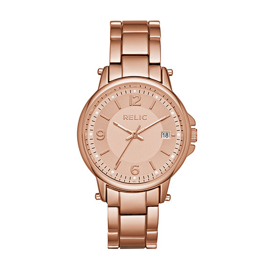 Relic By Fossil Womens Multi-Function Rose Goldtone Leather Bracelet Watch-Zr34394