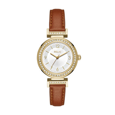 Relic Womens Brown Strap Watch-Zr12235