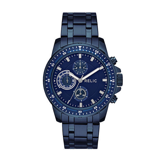 Relic By Fossil Mens Blue Stainless Steel Bracelet Watch-Zr15937