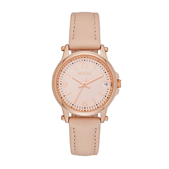 Relic By Fossil Womens Pink Leather Strap Watch-Zr34382