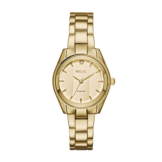 Relic By Fossil Womens Gold Tone Bracelet Watch-Zr34418