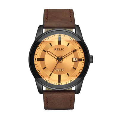 Relic Mens Brown Strap Watch-Zr12229