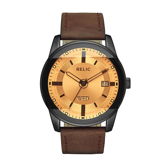 Relic By Fossil Mens Brown Strap Watch-Zr12229