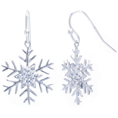 Sparkle Allure Snowflake Clear Crystal Silver Over Brass Drop Earrings