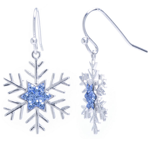 Sparkle Allure Blue Crystal Snowflake Silver Over Brass Drop Earrings